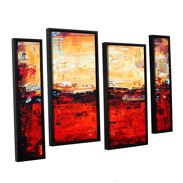 Brushstone Abstract Warm 4-pc. Floater Framed Staggered Canvas Wall Art
