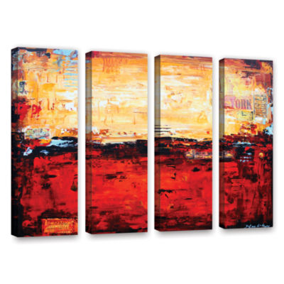 Brushstone Abstract Warm 4-pc. Gallery Wrapped Canvas Wall Art