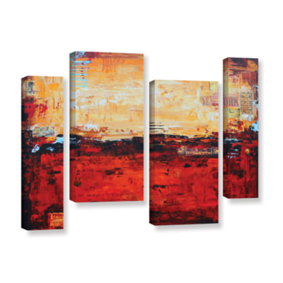 Brushstone Abstract Warm 4-pc. Gallery Wrapped Staggered Canvas Wall Art
