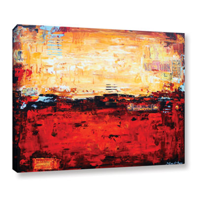 Brushstone Abstract Warm Gallery Wrapped Canvas Wall Art