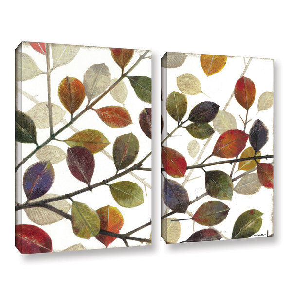 Brushstone Autumn Leaves 2-pc. Gallery Wrapped Canvas Wall Art