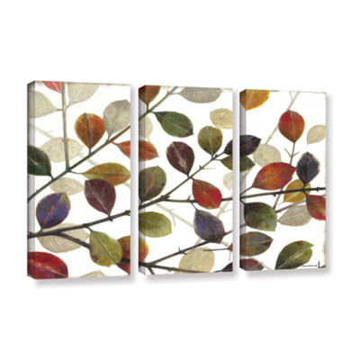 Brushstone Autumn Leaves 3-pc. Gallery Wrapped Canvas Wall Art