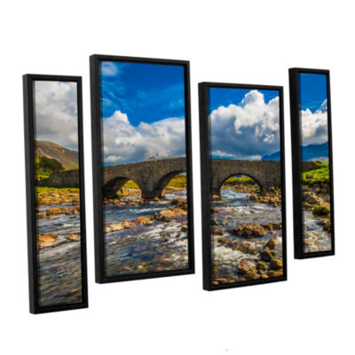 Brushstone The Old Stone Bridge 4-pc. Floater Framed Staggered Canvas Wall Art
