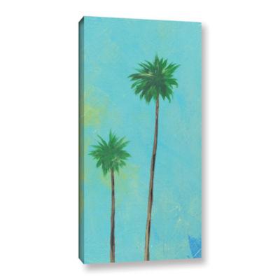 Brushstone Aqua Twin Palms Gallery Wrapped CanvasWall Art