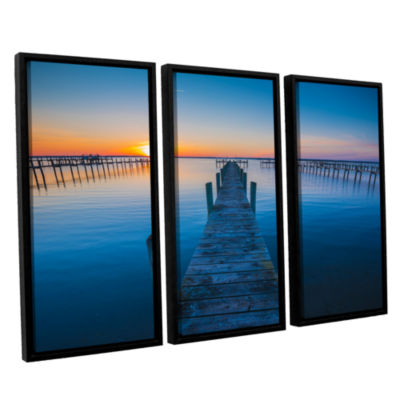 Brushstone Blue Is The Bay 3-pc. Floater Framed Canvas Wall Art