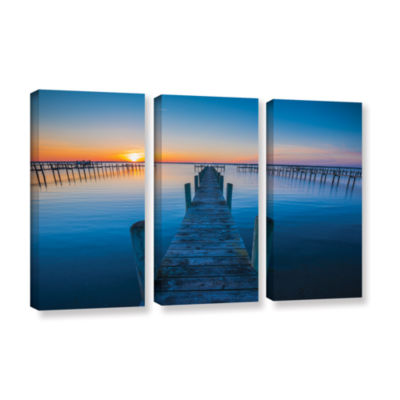 Brushstone Blue Is The Bay 3-pc. Gallery Wrapped Canvas Wall Art