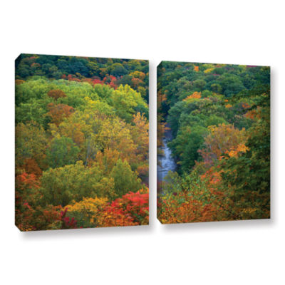 Brushstone Autumn Stream 2-pc. Gallery Wrapped Canvas Wall Art