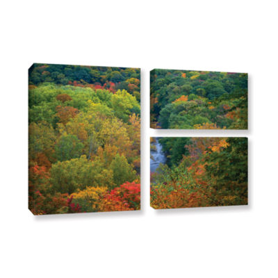 Brushstone Autumn Stream 3-pc. Gallery Wrapped Canvas Wall Art