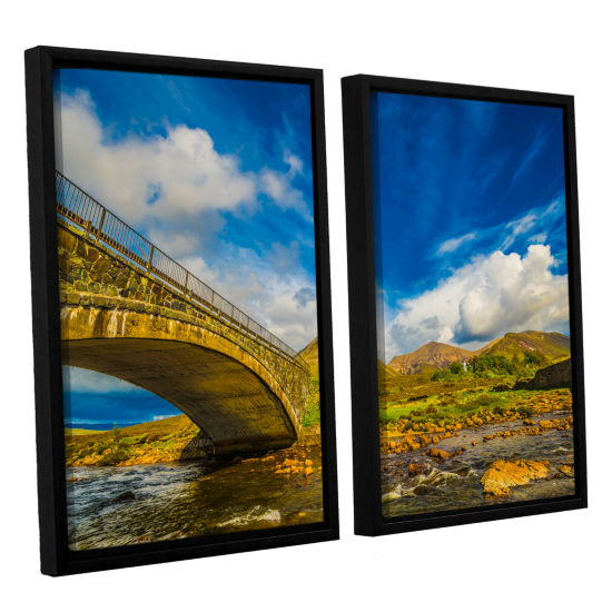 Brushstone Bridge Over River Sligachan 2-pc. Floater Framed Canvas Wall Art