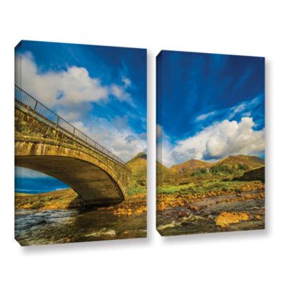 Brushstone Bridge Over River Sligachan 2-pc. Gallery Wrapped Canvas Wall Art