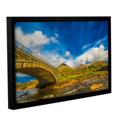 Brushstone Bridge Over River Sligachan Gallery Wrapped Floater-Framed Canvas Wall Art