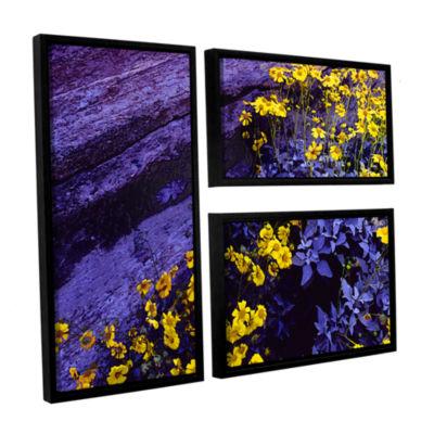 Brushstone Desert Sunflower Dusk 3-pc. Flag Floater Framed Canvas Wall Art