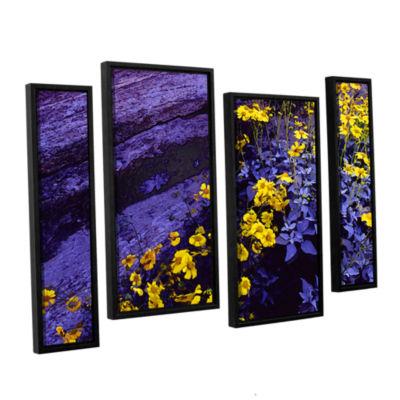 Brushstone Desert Sunflower Dusk 4-pc. Floater Framed Staggered Canvas Wall Art