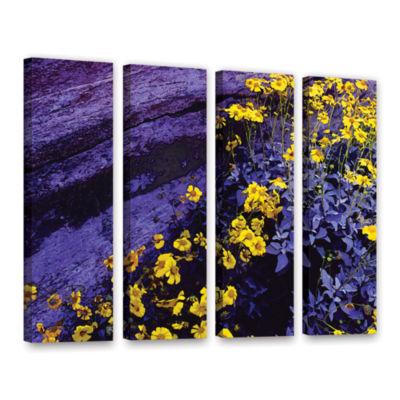 Brushstone Desert Sunflower Dusk 4-pc. Gallery Wrapped Canvas Wall Art