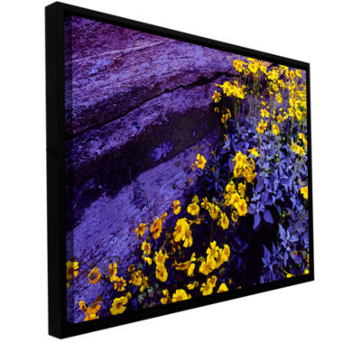 Brushstone Desert Sunflower Dusk Gallery Wrapped Floater-Framed Canvas Wall Art