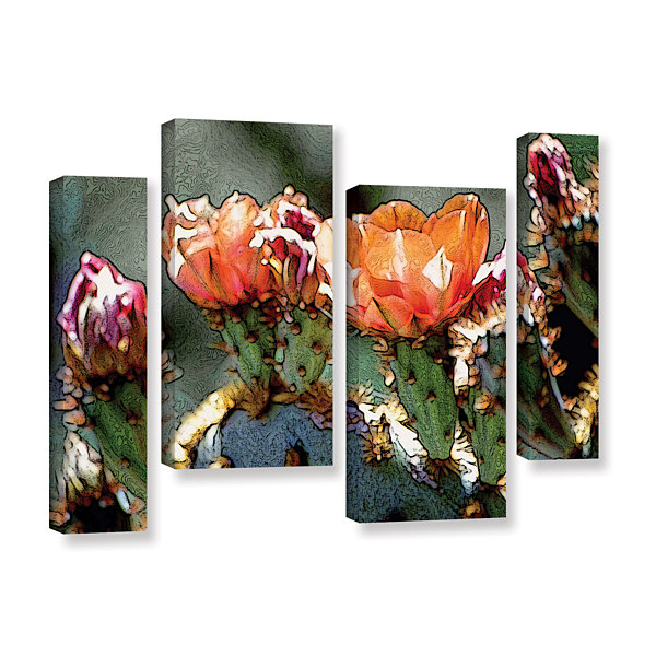 Brushstone Dessert Bloom 4-pc. Gallery Wrapped Staggered Canvas Wall Art