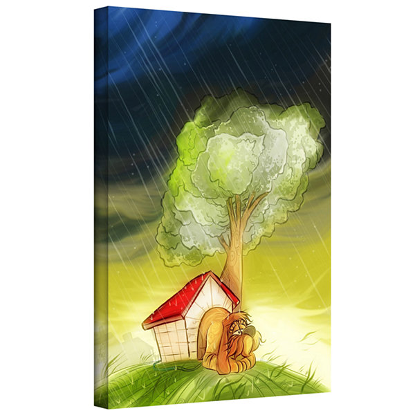 Brushstone Dog In The Rain Gallery Wrapped CanvasWall Art