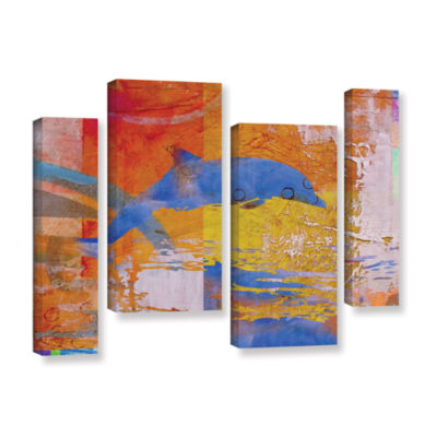 Brushstone Dolphin 4-pc. Gallery Wrapped StaggeredCanvas Wall Art