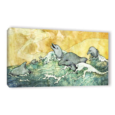 Brushstone Dolphins Gallery Wrapped Canvas Wall Art