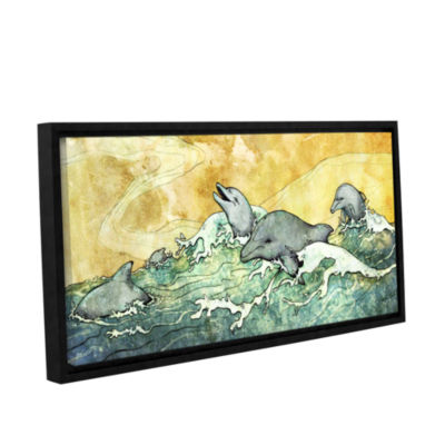 Brushstone Dolphins Gallery Wrapped Floater-FramedCanvas Wall Art