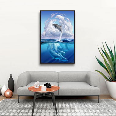 Brushstone Dolphonic Symp Gallery Wrapped Floater-Framed Canvas Wall Art