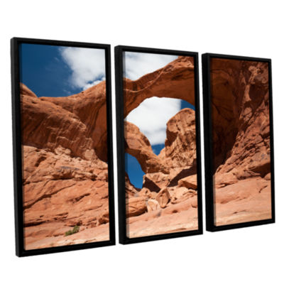 Brushstone Double Arch Horizontal 3-pc. Floater Framed Canvas Wall Art