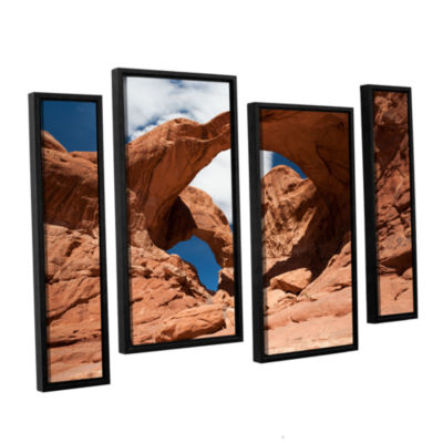 Brushstone Double Arch Horizontal 4-pc. Floater Framed Staggered Canvas Wall Art