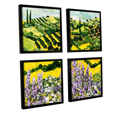 Brushstone Down The Hill 4-pc. Square Floater Framed Canvas Wall Art
