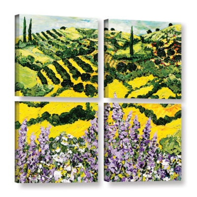Brushstone Down The Hill 4-pc. Square Gallery Wrapped Canvas Wall Art