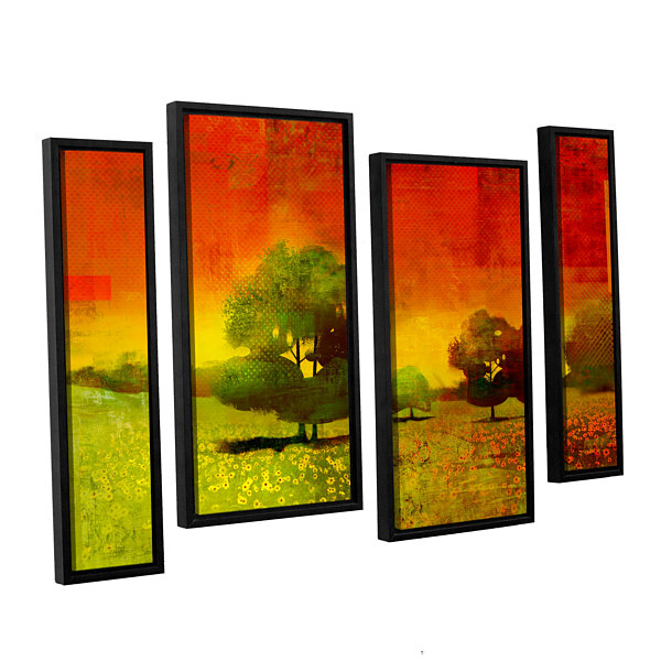 Brushstone Drenched Grace 4-pc. Floater Framed Staggered Canvas Wall Art