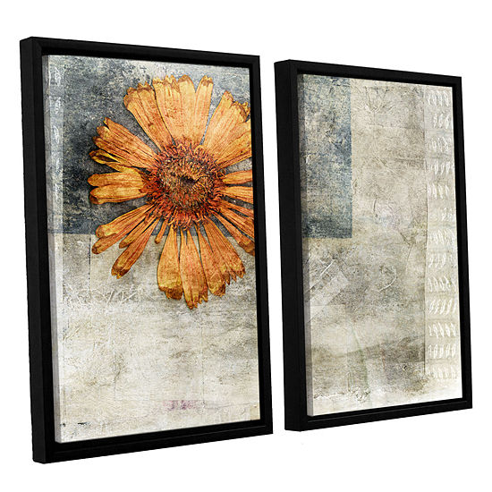 Brushstone Dried Flower Abstract 2 Pc Floater Framed Canvas Wall Art