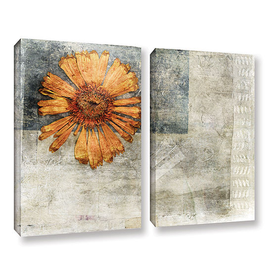 Brushstone Dried Flower Abstract 2-pc. Gallery Wrapped Canvas Wall Art