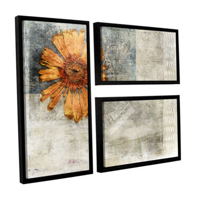 Brushstone Dried Flower Abstract 3-pc. Flag Floater Framed Canvas Wall Art