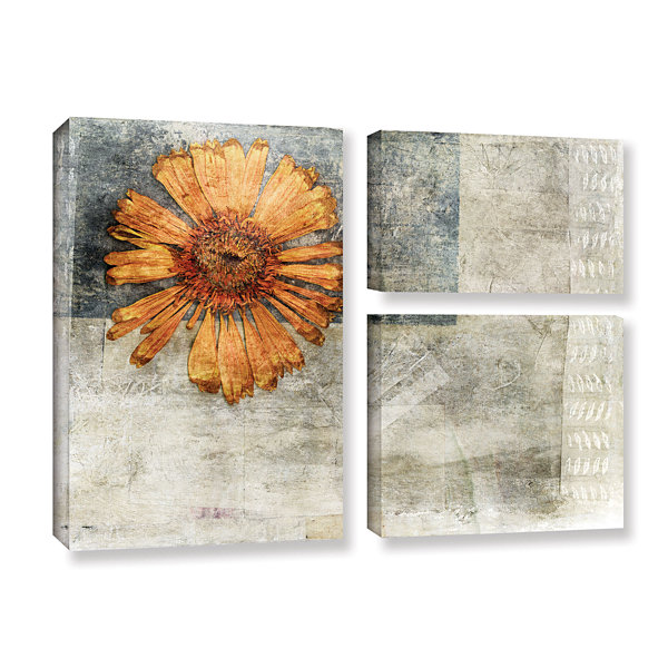 Brushstone Dried Flower Abstract 3-pc. Flag Gallery Wrapped Canvas Wall Art