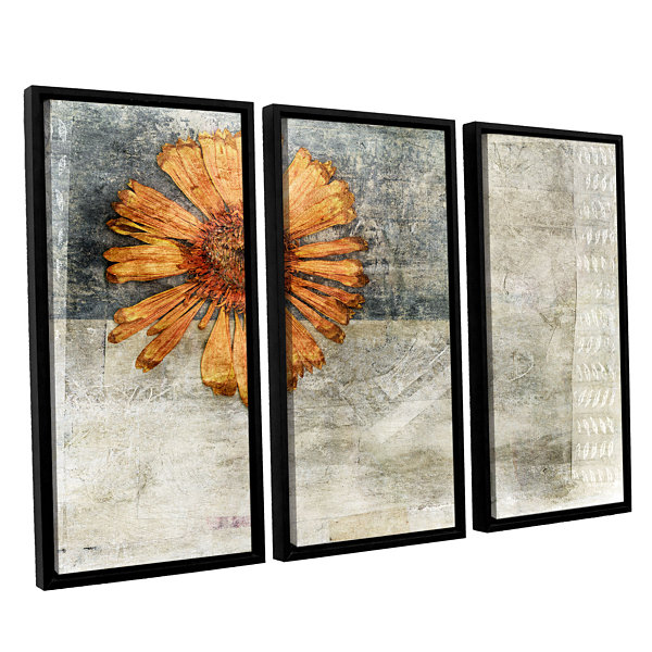Brushstone Dried Flower Abstract 3-pc. Floater Framed Canvas Wall Art