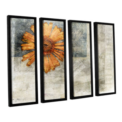 Brushstone Dried Flower Abstract 4-pc. Floater Framed Canvas Wall Art