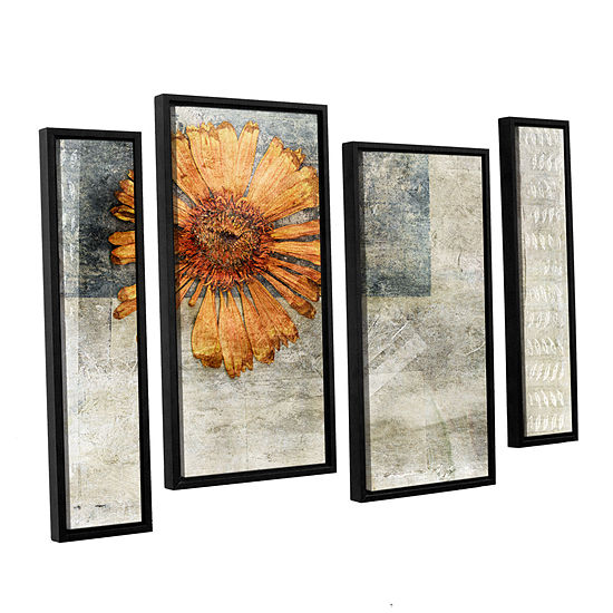 Brushstone Dried Flower Abstract 4-pc. Floater Framed Staggered Canvas Wall Art