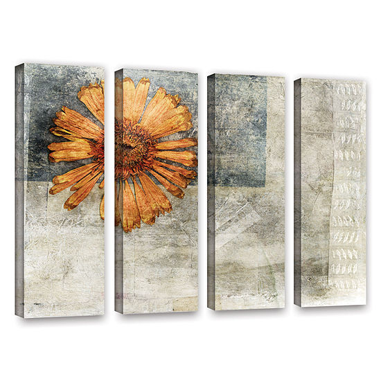 Brushstone Dried Flower Abstract 4-pc. Gallery Wrapped Canvas Wall Art
