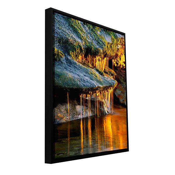 Brushstone Dripping Sunlight Gallery Wrapped Floater-Framed Canvas Wall Art