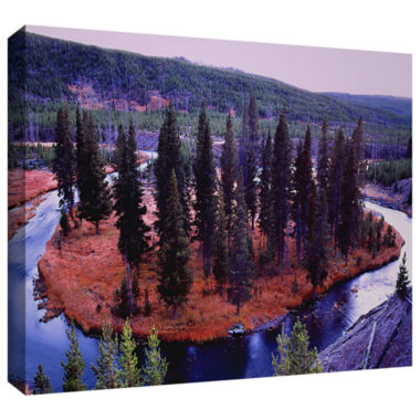 Brushstone Dusk Meander Yellowstone Gallery Wrapped Canvas Wall Art