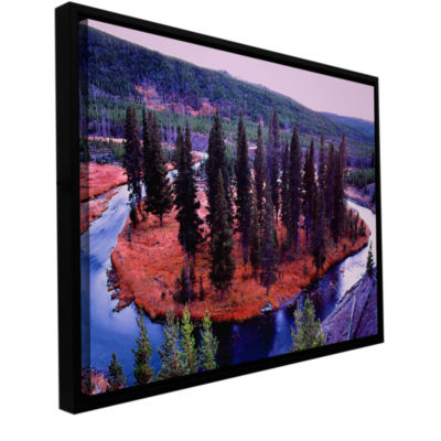 Brushstone Dusk Meander Yellowstone Gallery Wrapped Floater-Framed Canvas Wall Art