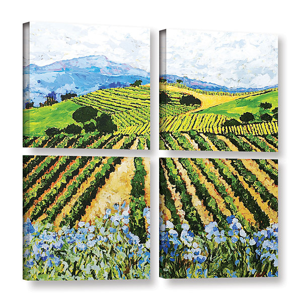 Brushstone Early Crop 4-pc. Square Gallery WrappedCanvas Wall Art