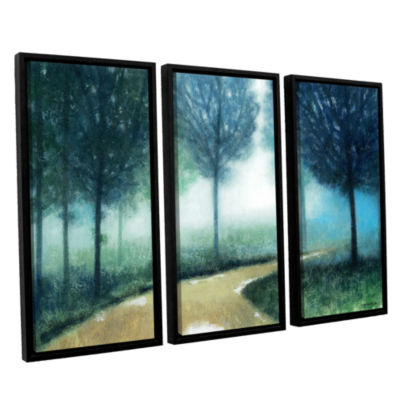 Brushstone Early Morning Mist 3-pc. Floater FramedCanvas Wall Art