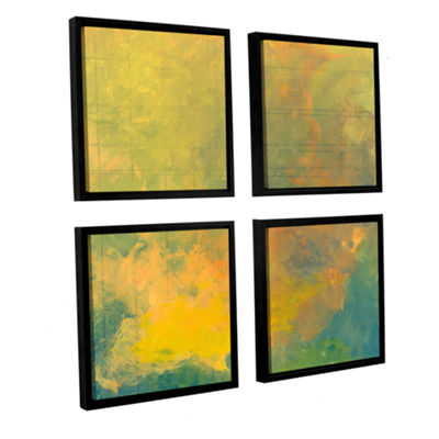 Brushstone Earth And Lines I 4-pc. Square FloaterFramed Canvas Wall Art