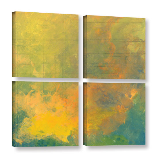 Brushstone Earth And Lines I 4-pc. Square GalleryWrapped Canvas Wall Art