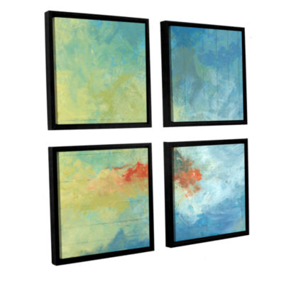 Brushstone Earth And Lines Ii 4-pc. Square FloaterFramed Canvas Wall Art