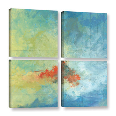 Brushstone Earth And Lines Ii 4-pc. Square GalleryWrapped Canvas Wall Art