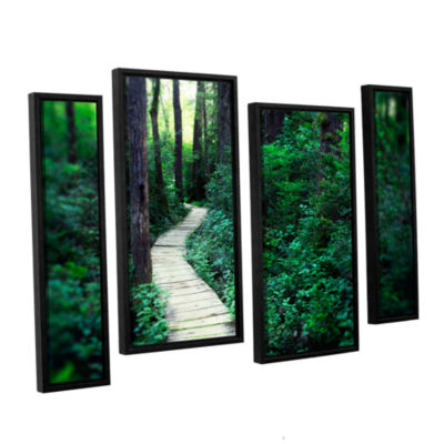 Brushstone Earth Path 4-pc. Floater Framed Staggered Canvas Wall Art