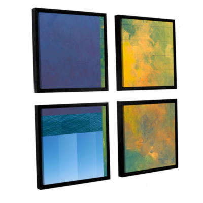 Brushstone Earth Squares Ii 4-pc. Square Floater Framed Canvas Wall Art