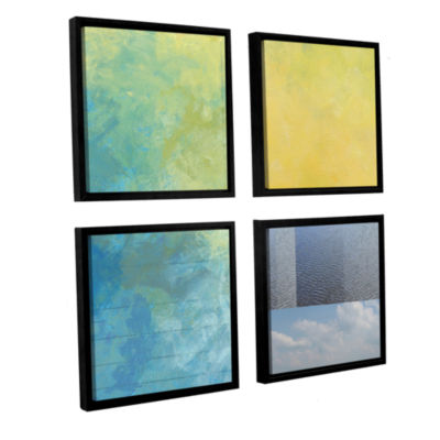 Brushstone Earth Textures Squares I 4-pc. Square Floater Framed Canvas Wall Art